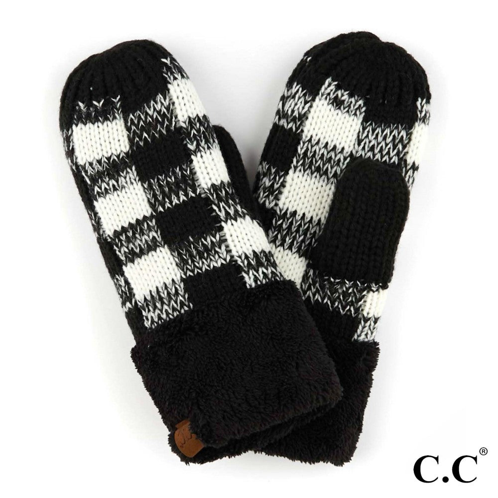 GLOVES {STAR} Black + White Buffalo Plaid CC Beanie Mittens/Gloves