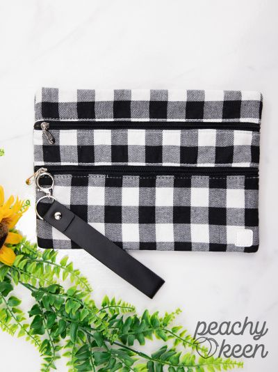 White {PLAID PROMISES} Double Zipper Bag