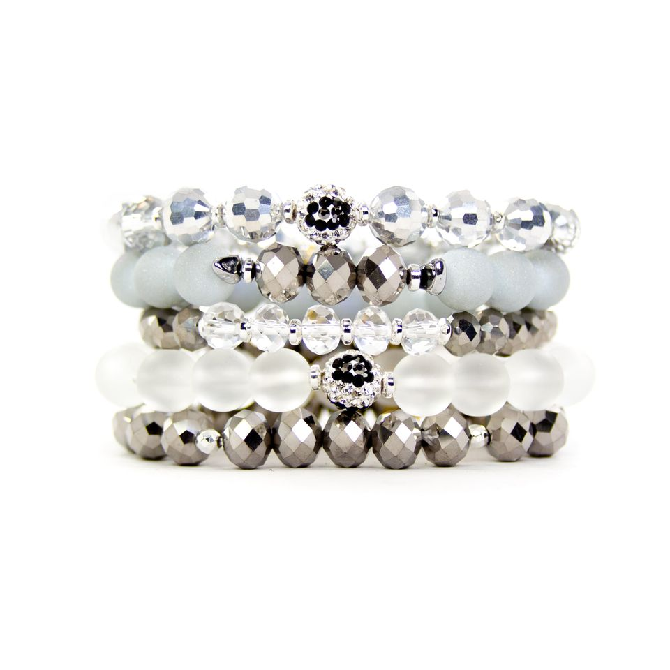 Extended {WHITE TIGER} Snow Leopard Bracelet Set of 5