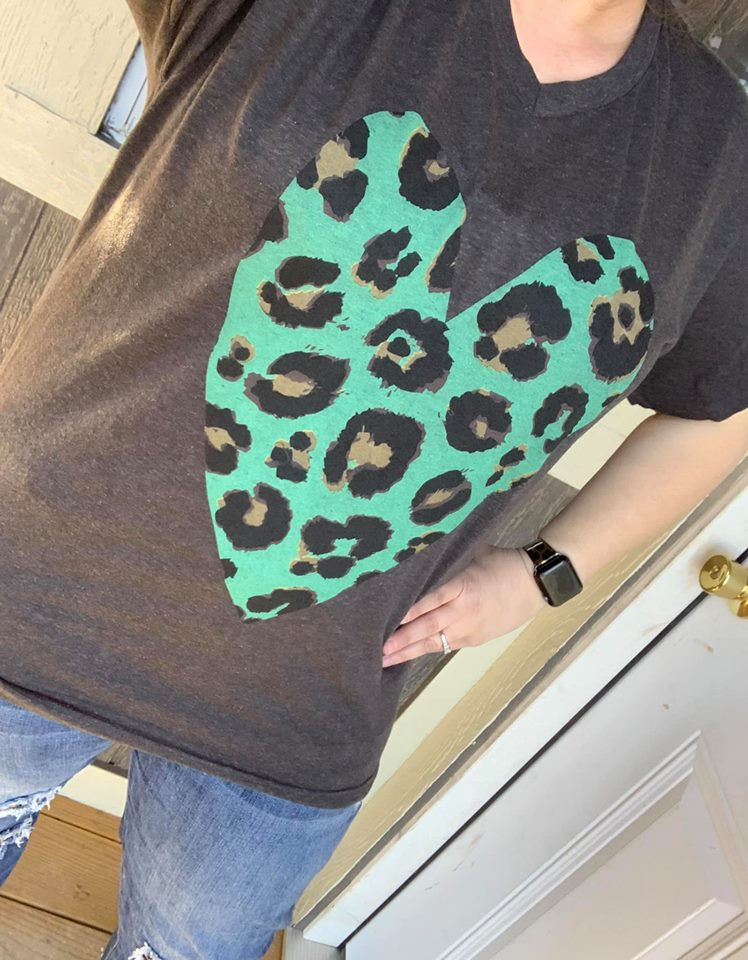 Twisted Tee $20 Special:  {WILD ABOUT YOU} Leopard + Teal Heart Graphite V-Neck Tee {Pre-Order:  Ships in 2-3 Weeks}