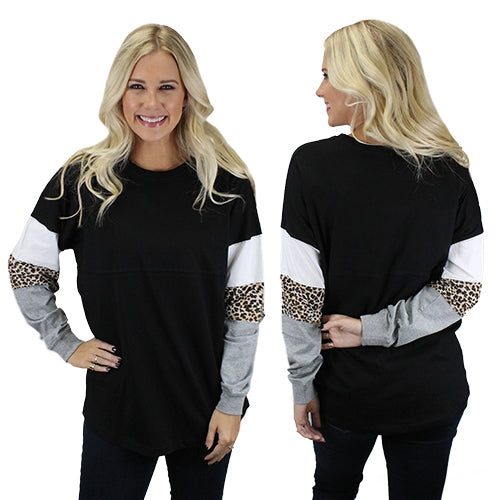 Wild Adventures {BLACK + LEOPARD} Color Block Oversized Long Sleeve Top {Size Down}