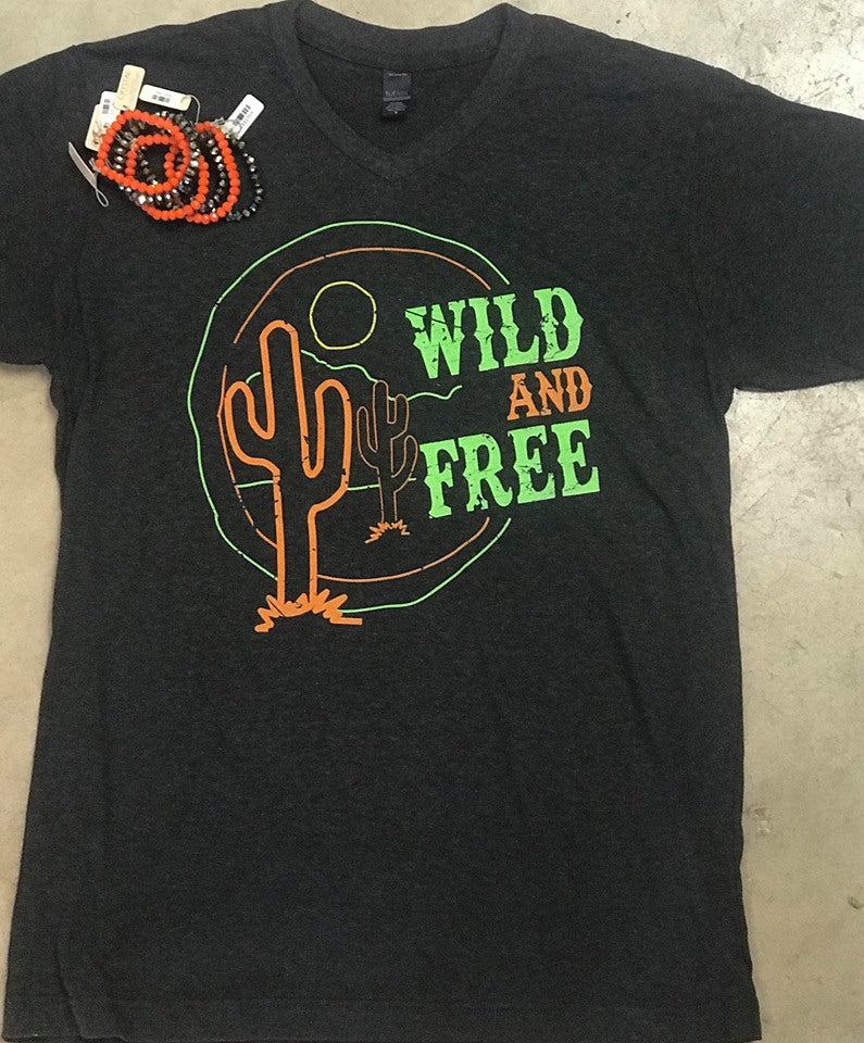 Wild and Free Cactus Sunset Char-Black V-Neck Tee