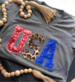 Pre-Order:  Ships 5/3 {W.I.L.D. in the U.S.A.} Patriotic Red, Blue + Leopard Hand Appliquéd Gray Tee {Please Purchase Separately}