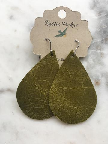 """Earhart"" Worn Olive Green Leather Teardrop Earrings"