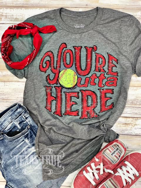 {SOFTBALL} You're Outta Here Gray V-Neck Tee
