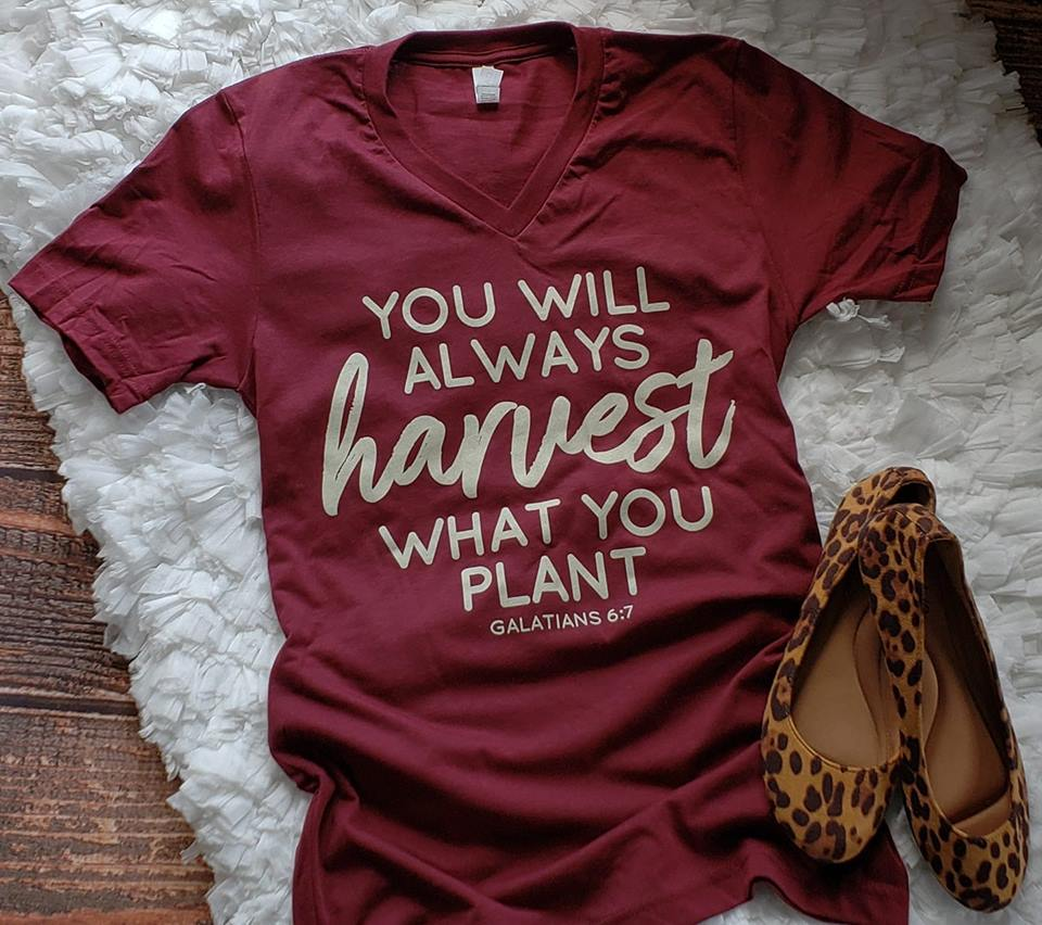 You Will Always Harvest What You Plant Heather Cardinal V-Neck Tee