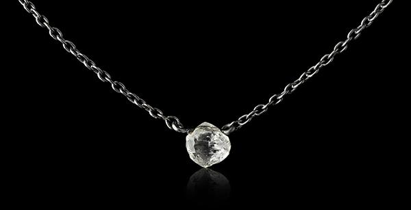 <strong>0.36 ct.</strong> Natural Rough diamond in 18K black rhodium white gold necklace
