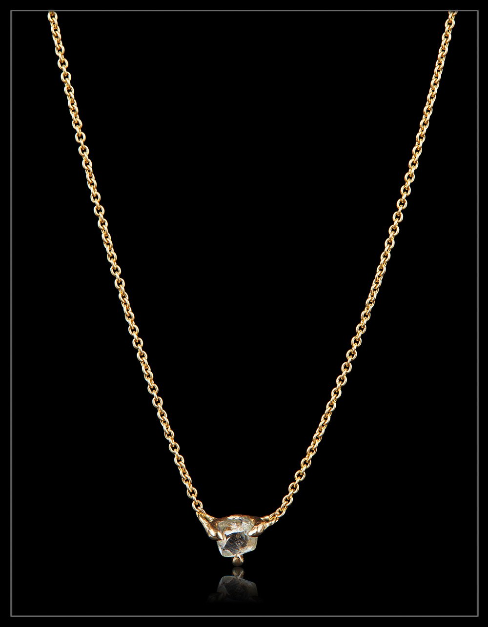 Natural Rough Beauty from Eternity in gold necklace – <strong> 0.37 ct. </strong>
