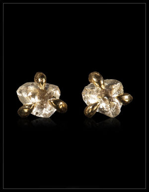 Petite White Uncut Diamond Gold Earrings - <strong>0.44 ct.</strong>