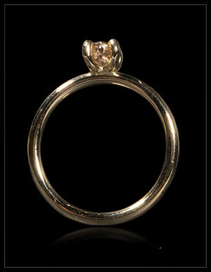Glossy Rough Diamond Gold Ring - <strong>0.49 ct.</strong>