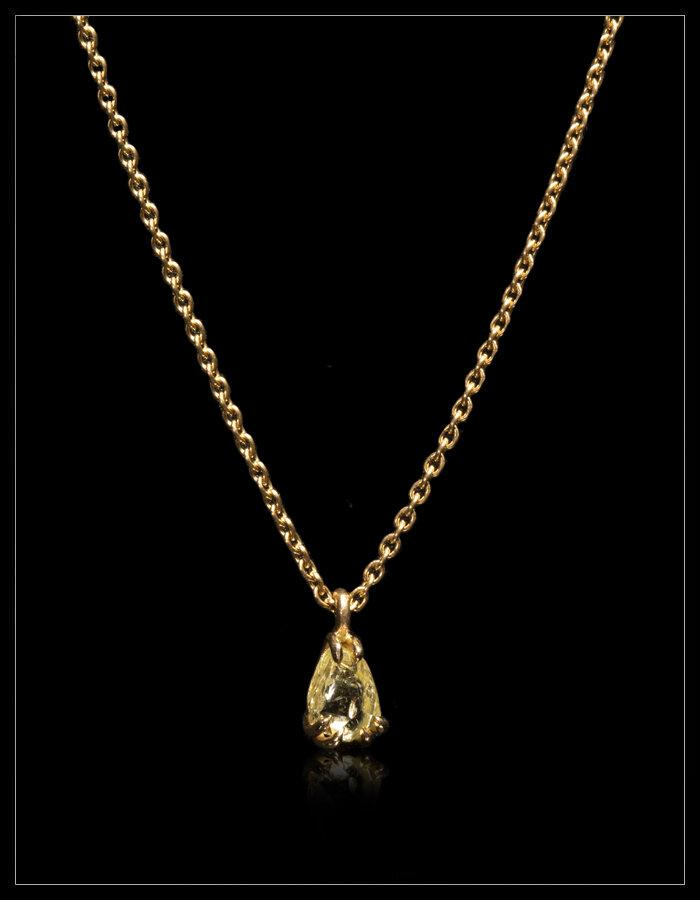 Yellow Rain Drop Diamond Necklace - <strong>0.67 ct.</strong>