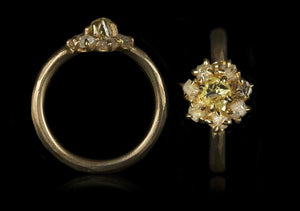 <strong>0.67 ct.</strong> Natural Fancy Yellow & <strong>0.69 ct.</strong> Whitish Rough diamonds in 14K gold ring