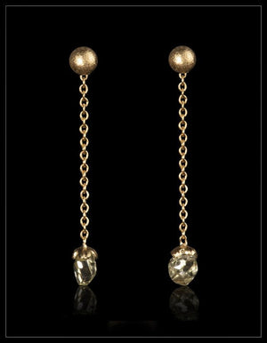 Sparkling Yellow Diamond Gold Earrings - <strong>0.68 ct.</strong>