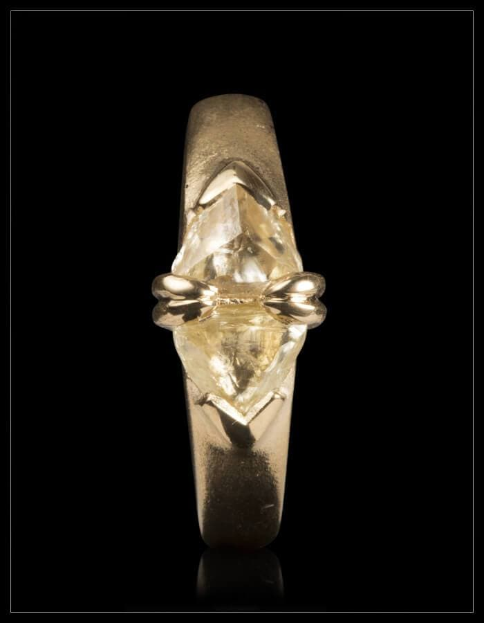 Twin Light Yellow Rough Diamonds Ring - <strong>1.34 ct.</strong>