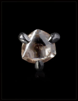 Natural Brownish Rough diamond in 14K white gold pin - <strong>0.28 ct. </strong>