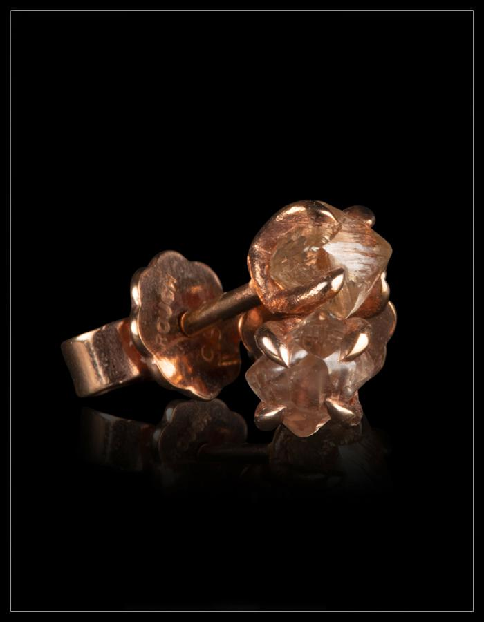 Warm Light Brown Diamond Rose Gold Earrings - <strong>1.03 ct.</strong>
