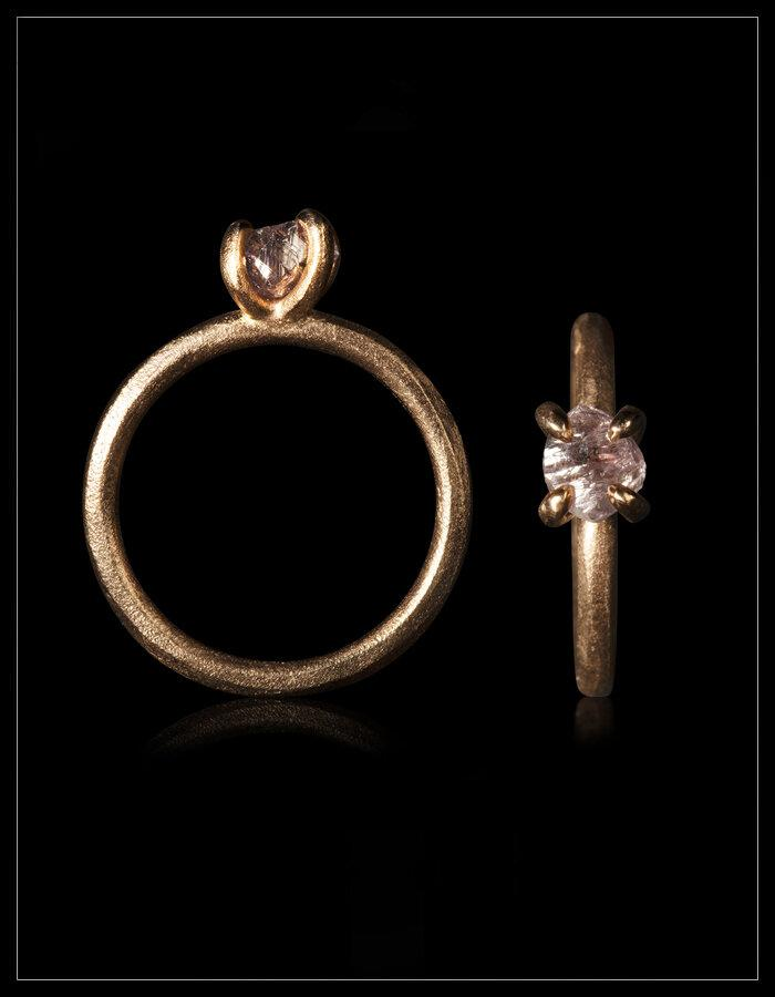 Rare Rough Pink Diamond Rose Gold Ring - <strong>1.12 ct.</strong>