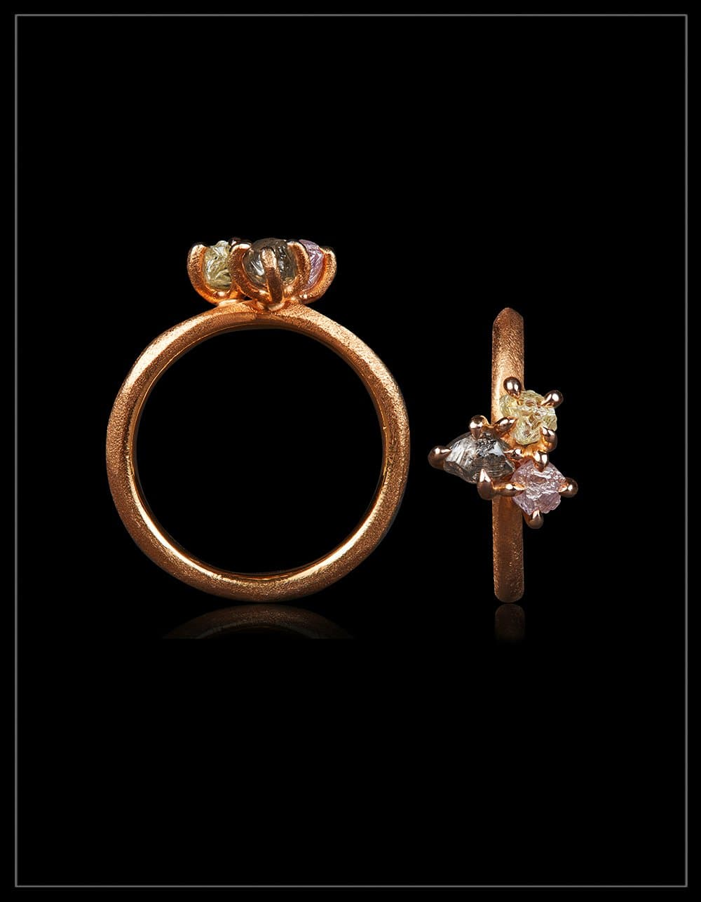 Faith, Hope and Love Cluster Rose Gold Ring –<strong>1.33 ct.</strong>