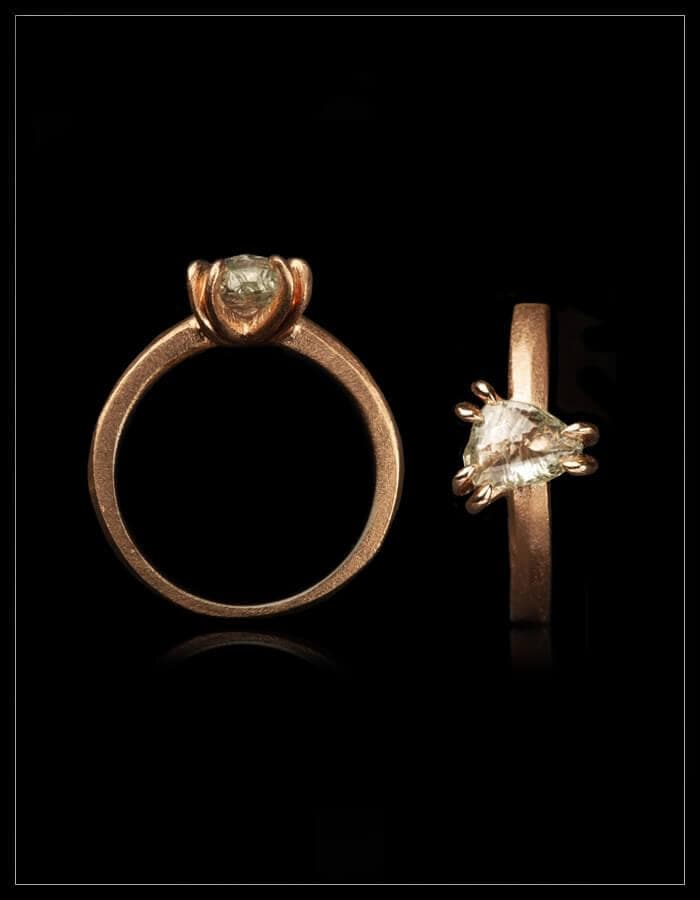 Exceptional Clear Triangle Raw Diamond Rose Gold Ring - <strong>1.40 ct.</strong>