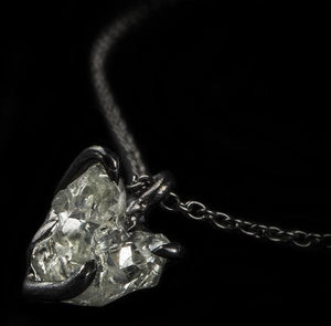 <strong>1.45 ct.</strong> Natural Rough diamond in 18K black rhodium white gold necklace