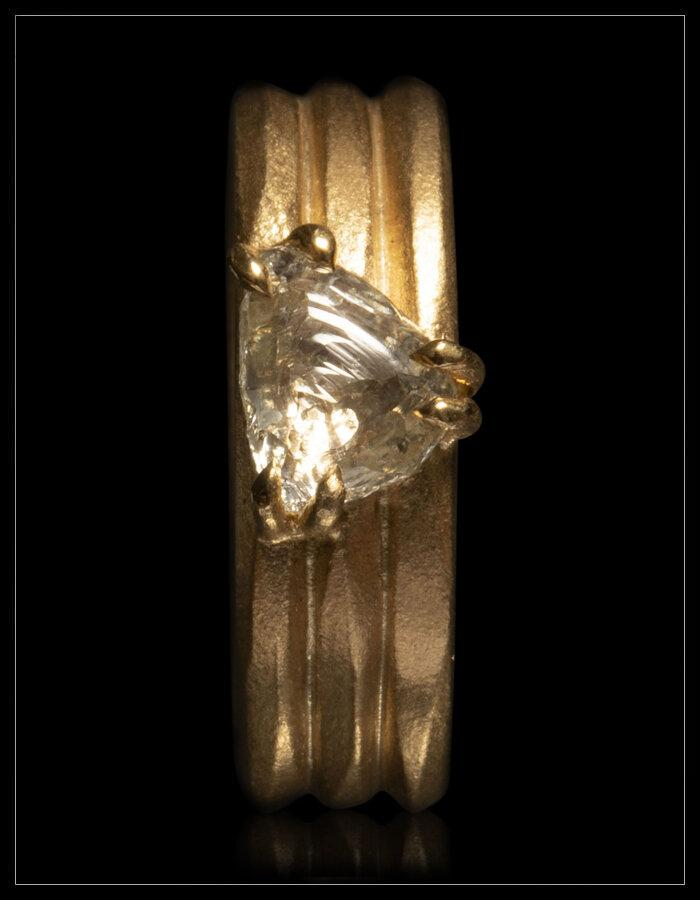 Raw Diamond Triple Band Gold Ring - <strong>1.54 ct.</strong>