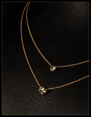 Feminine Gold Chain Necklace With Two Diamonds - <strong>1.58 ct.</strong>