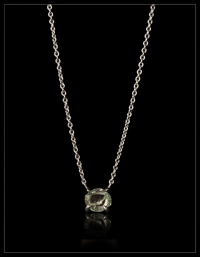 Natural Fancy Green Rough Diamond in 18K Handcrafted White Gold Necklace - <strong>1.81 ct.</strong>