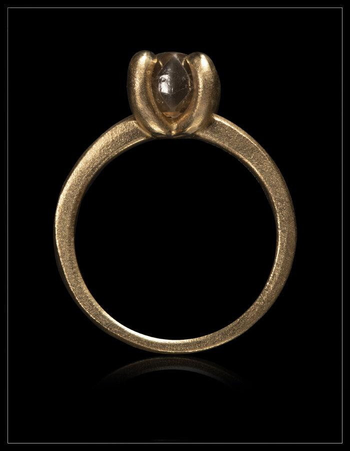 Soft Brown Unpolished Diamond Gold Ring - <strong>2.40 ct.</strong>