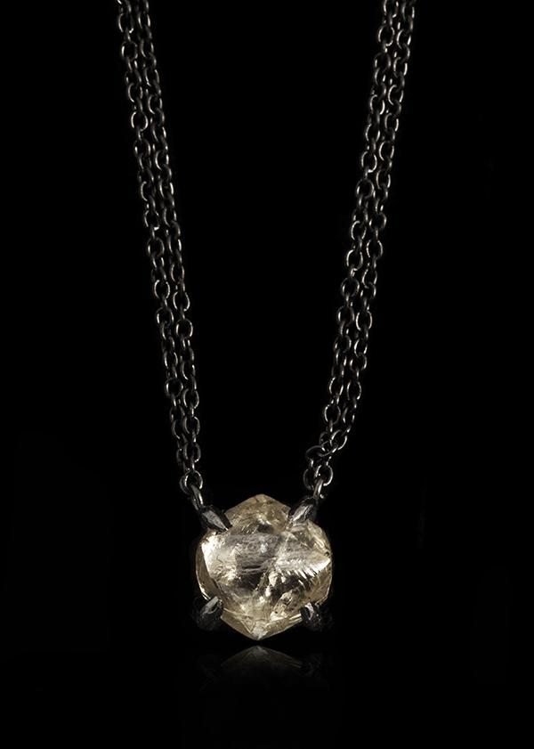 <strong>2.42 ct.</strong> Natural Rough diamond in 18K double black rhodium white gold chain necklace