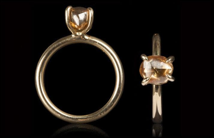 <strong>2.90 ct.</strong> Natural Fancy Orange-Brown Rough diamond in 14K glossy gold ring