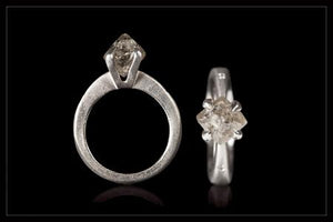 Edgy Tall Rough Diamond White Gold Ring - <strong>3.13 ct.</strong>