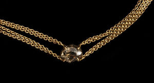 <strong>3.58 ct.</strong> Natural Brownish Rough diamond in 4x18K gold chain necklace