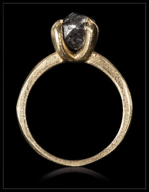 Black South African Diamond Gold Ring - <strong>3.77 ct.</strong>