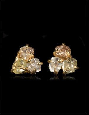 Big Three Stone Diamond Gold Earrings - <strong>4.20 ct.</strong>