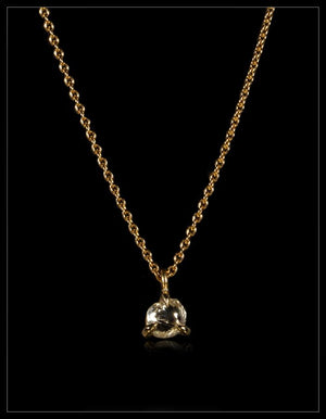 Natural Whitish-Clear Rough Diamond in 18K Handcrafted Gold Chain Necklace - <strong>0.71 ct.</strong>