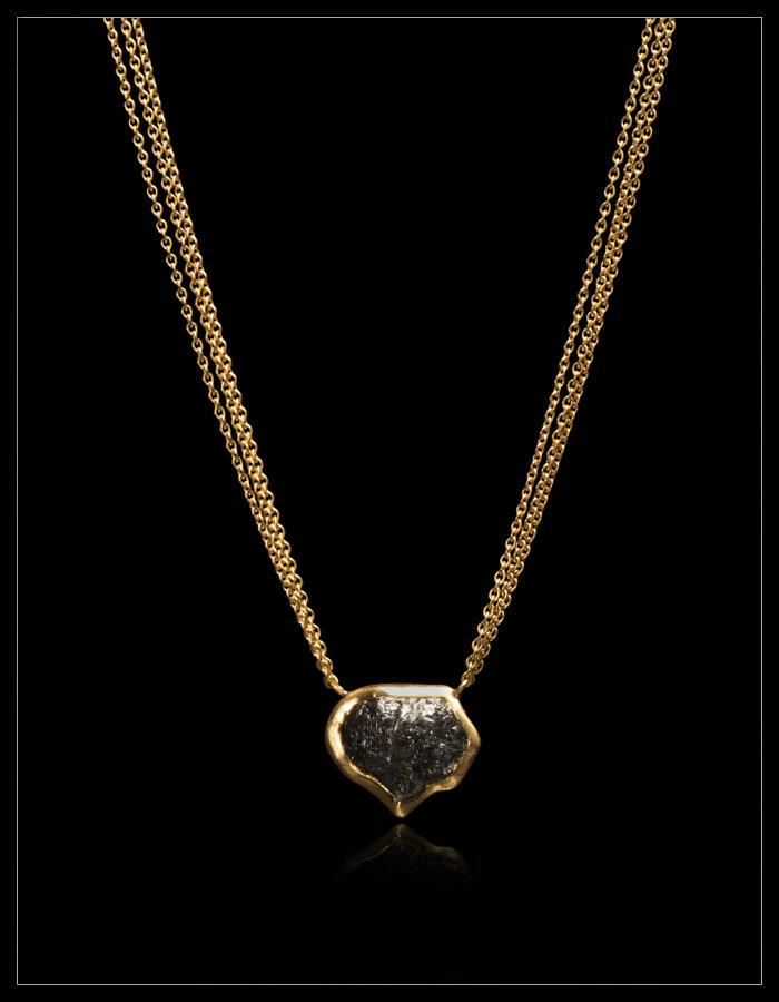 Natural Black Rough Diamond in Triple 18K Handcrafted Necklace - <strong>7.83 ct.</strong>