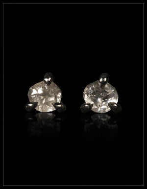 Natural Whitish-Greyish Rough Diamonds in 14K Handcrafted Black Rhodium White Gold Earrings - <strong>0.61 ct.</strong>