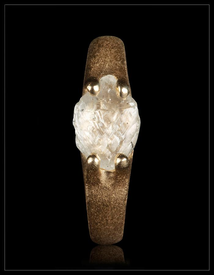 Natural Whitish Rough Diamond in 14K Handcrafted Gold Ring - <strong>1.98 ct.</strong>