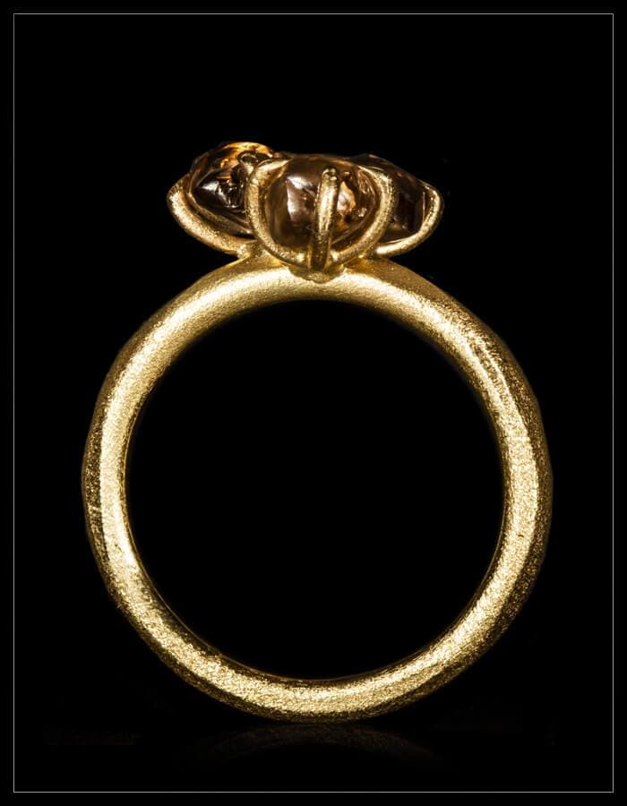 Natural Light Brown Rough Diamonds in 14K Handcrafted Gold Ring - <strong>3.21 ct.</strong>