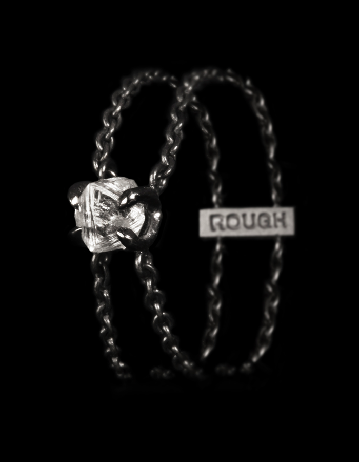 Natural Rough Diamond in 18K Handcrafted White Gold Chain Ring - <strong>0.55 ct.</strong>
