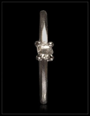 Natural Light Grey Rough Diamond in 14K Handcrafted White Gold Ring - <strong>0.24 ct.</strong>
