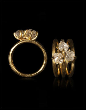 Natural Whitish Rough Diamonds in 14K Handcrafted Triple Gold Ring < <strong>3.51 ct.</strong>