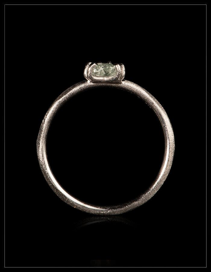 Natural Greenish Triangle Rough Diamond in 14K Handcrafted White Gold Ring - <strong>0.32 ct.</strong>