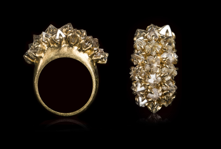 <strong>8.69 ct.</strong> Natural Whitish-Clear Octahedron Rough diamonds in 14K gold ring