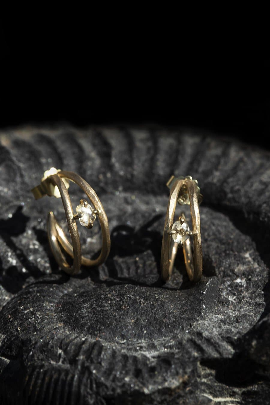 Handcrafted Diamond Gold Creole Earrings -<strong> 0.47 ct.</strong>