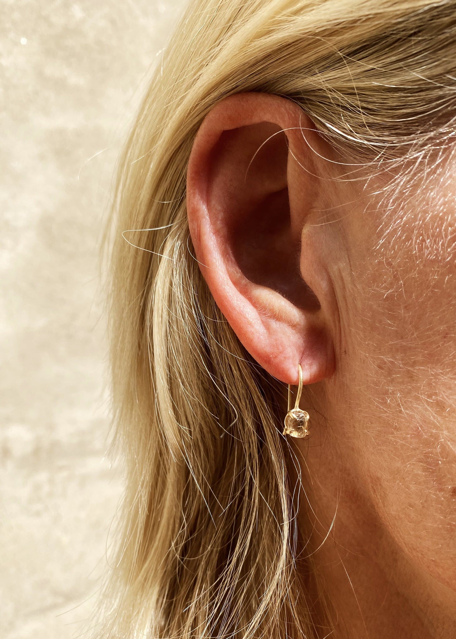 Feminine Handcrafted Dangling Gold Earrings - <strong>2.18 ct.</strong>