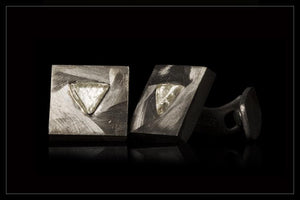 Triangle Rough Diamond Silver Cufflinks - <strong>1.38 ct.</strong>