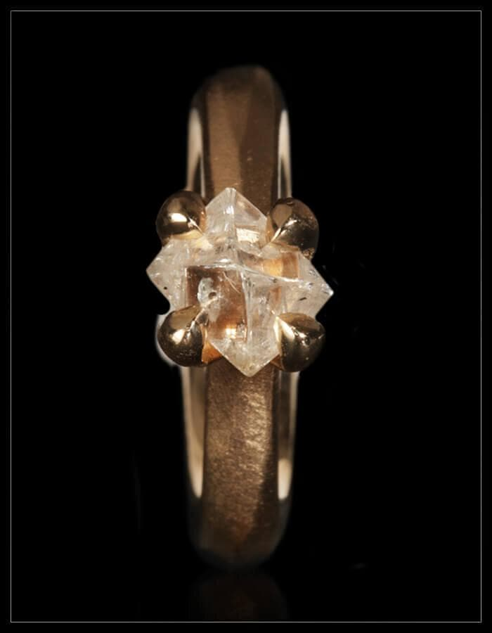 Big White Raw Diamond Princess Gold Ring - <strong>1.84 ct.</strong>