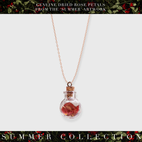 'Summer' Limited Edition Rose Petal Glass Vial Rose Petal (Rose) Gold Necklace (limited to 250)