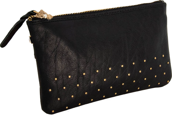 Leather clutch with studs- Black
